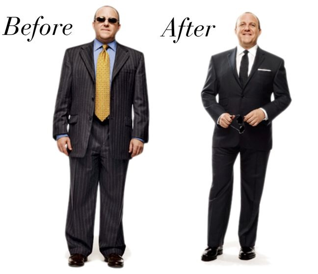 suit-fitting baggy to fitted
